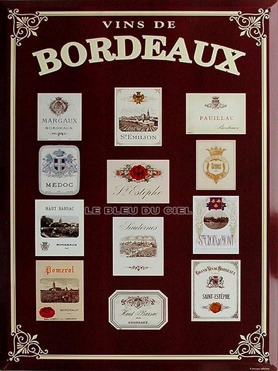 Plaque décorative métallique Les Bordeaux