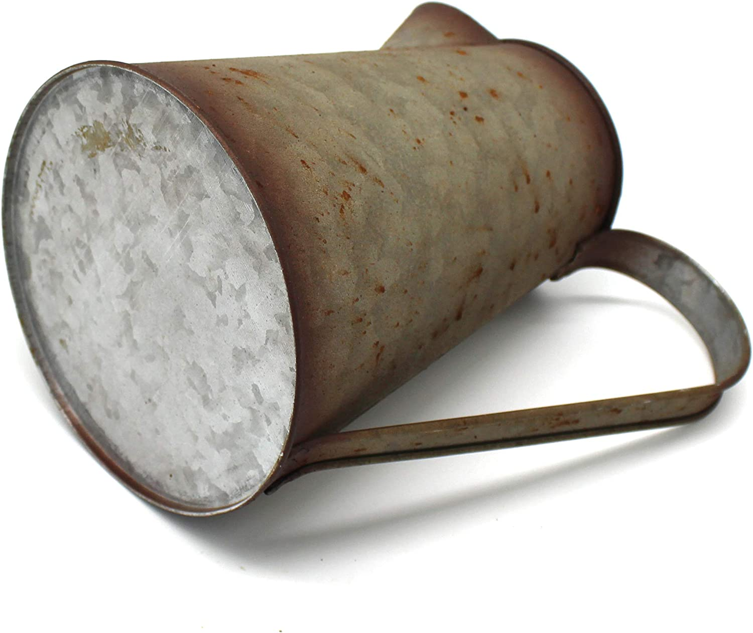 Old Rustic Primitive Watering Can Jug Vase for Home and Garden D/écor. CVHOMEDECO 7 Inch Galvanized Metal Milk Pitcher