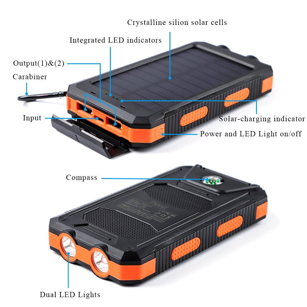 soyond Solar Charger - Solar Phone Charger 10000 mAh Portable Solar Battery Charger Solar Power Bank Dual USB Waterproof 2 Led Light Flashlight with Compass for Camping Outdoor(Orange) by soyond