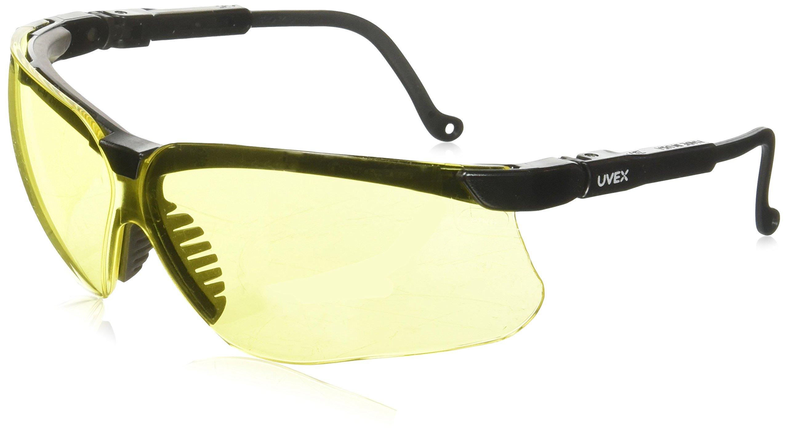 Honeywell Home Uvex S3202 Genesis Safety Eyewear, Black Frame, Amber Ultra-Dura Hardcoat Lens