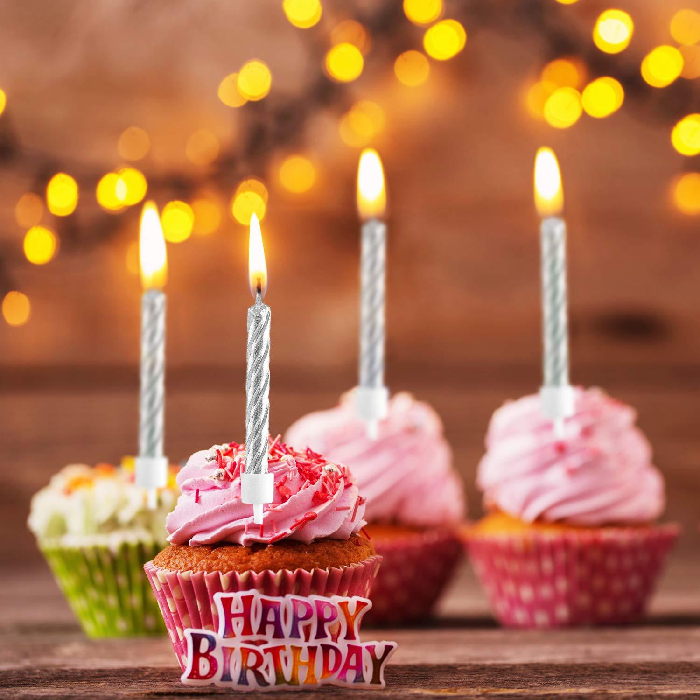 50 Piezas Espiral de Velas de Tarta en Soportes Metálicos Velas de Magdalena Velas Delgadas Cortas para Decoración de Tarta de Fiesta de Cumpleaños ...