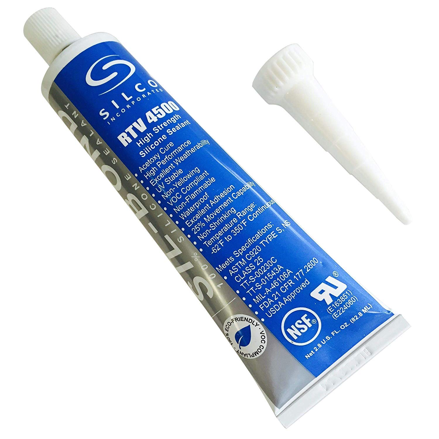 Silicone RTV 4500 Food Contact Safe High Strength Silicone Sealant, Clear (2.8 FL. Ounce)
