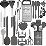 Silicone Kitchen Cooking Utensils Set, Fungun 27 Pcs Kitchen Utensil Set with Stainless Steel Handle - Kitchen Gadgets Cookwa