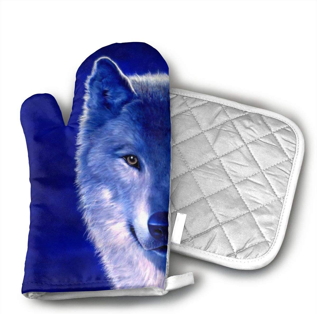 UYRHFS Wolves Blue Oven Mitts and Pot Holder Kitchen Set with, Heat Resistant, Oven Gloves and Pot Holders 2pcs Set for BBQ Cooking Baking