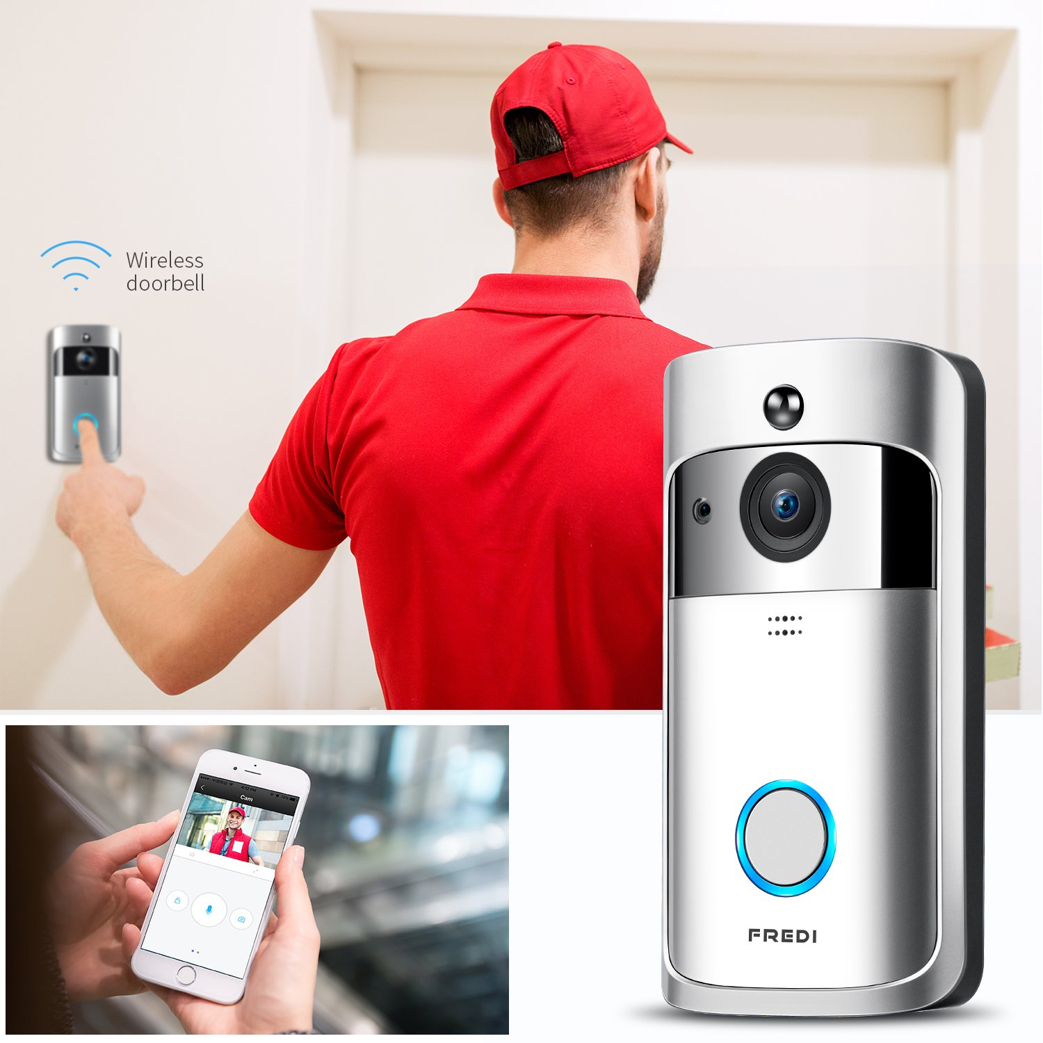 WIFI Video Doorbell, FREDI Smart Doorbell 720P HD Security Camera Real-Time Two-Way Talk and Video, Night Vision, PIR Motion Detection and App Control for IOS and Android by FREDI (Image #3)
