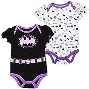 Batgirl DC Comics Baby Girls Creeper 2-Pack, Purple (6/9M)