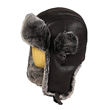 f904dbcabcf Image Unavailable. Image not available for. Color  Men Women Bomber Hats  Vintage Faux Fur Trapper Hat PU Leather Wind Proof Earflap ...