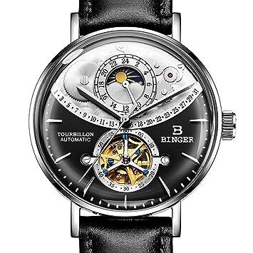 Gskj Reloj de Hombre Relojes mecanicos Completamente automatico Metal Reloj a Prueba de Agua Moda Superficie 2.5D Hueco Reloj de Negocios,E: Amazon.es: ...