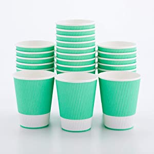12 Ounce Paper Coffee Cups, 25 Ripple Wall Disposable Paper Cups - Leakproof, Recyclable, Light Green Paper Hot Cups, Insulated, Matching Lids Sold Separately - Restaurantware