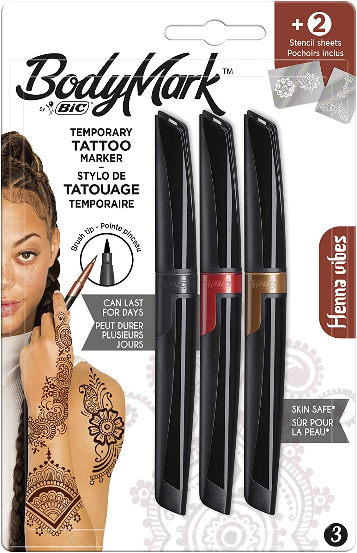 BodyMark by BIC - Marcadores y Plantillas para Tatuajes Temporales, Kit Henna Vibes, Pack de 3+2, Multicolor