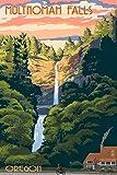 Multnomah Falls, Oregon - Sunset (9x12 Art Print, Wall Decor Travel Poster)