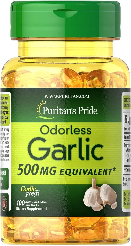 Puritan's Pride Odorless Garlic 500 mg-100 Rapid Release Softgels