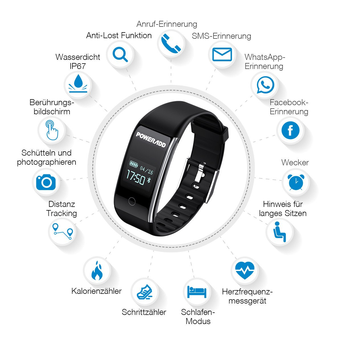POWERADD Fitness Armband Wasserdicht IP67 Smart Armband Bluetooth pulsuhr Aktivität Tracker
