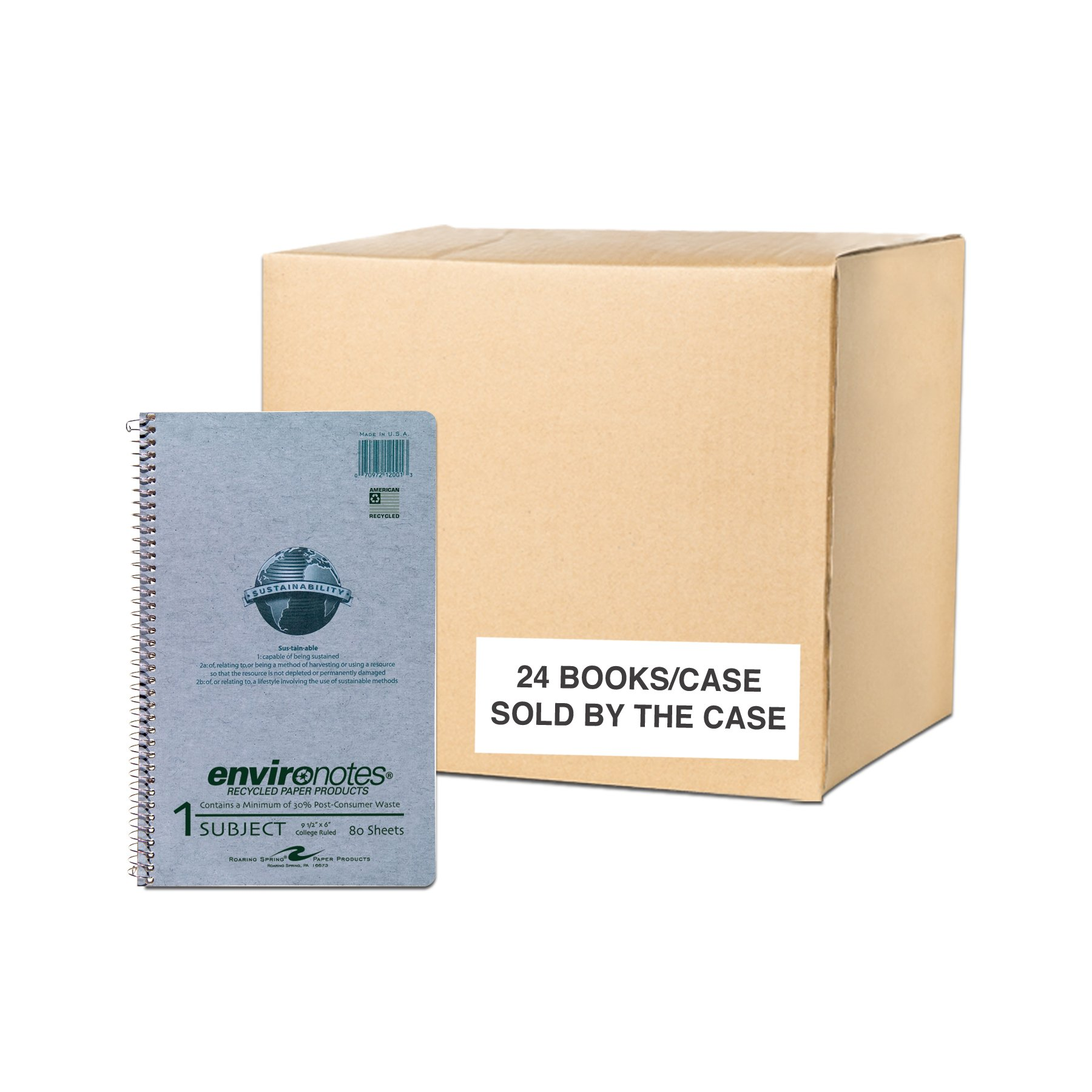 Case of 24 One Subject Wirebound Notebooks, 9.5''x6'', 80 sheets of 15# Recycled White Paper, grey Covers, College Ruled