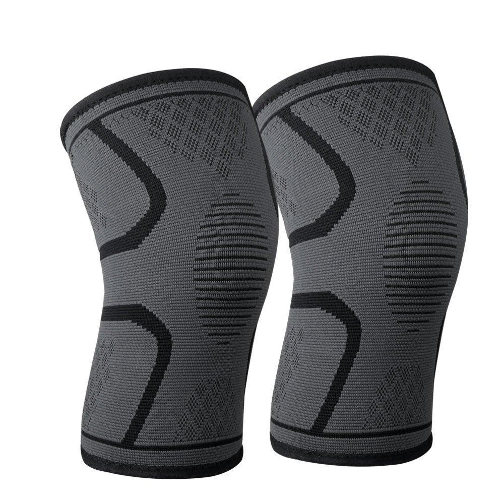 SiliTech膝ブレースサポート圧縮スリーブ、1ペアFDA登録Wrapsパッドバスケットボールの膝関節炎、ACL、ランニング、痛み止め、リカバリInjury、圧縮スリーブサポート B07D2DXR2X ブラック X-Large