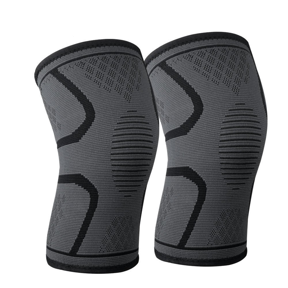 Keklle CS-15 Knee Compression Sleeves (1 pair) - Crossfit Knee Brace, Knee Support and Pain Relief in Weight Lifting, Knee Sleeves for Both Men & Women (M, Black)