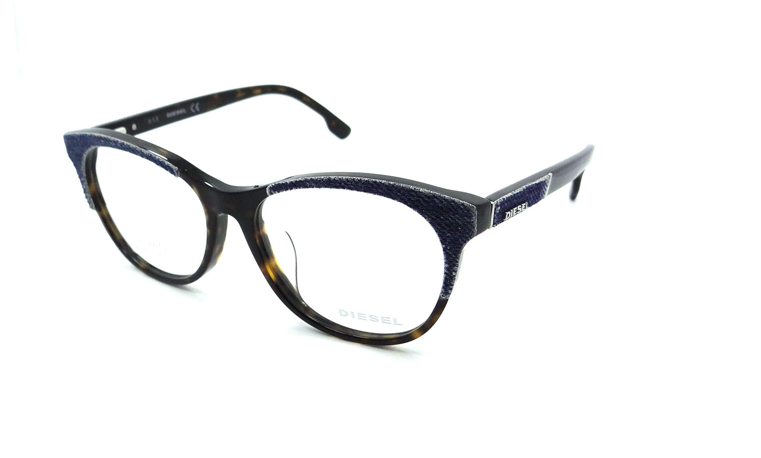 Diesel Rx Eyeglasses Frames DL5155-F 052 56-16-145 Blue Denim / Havana Asian Fit