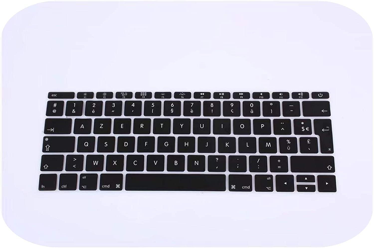 for 12 A1534 Retina-White 2016 Version,No Touch Bar Azerty French UK Silicone Keyboard Cover Skin for MacBook New Pro 13 A1708