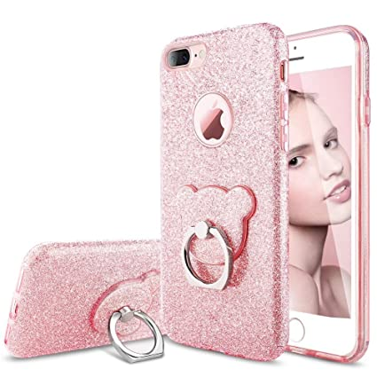 new style e11c2 a86a2 KUMEEK iPhone 7 Plus Case for Girls with Stand, Luxury Sparkle Bling Hard  Back Cover with Ring Kickstand, Slim Fit Shining Fashion Style for Apple ...