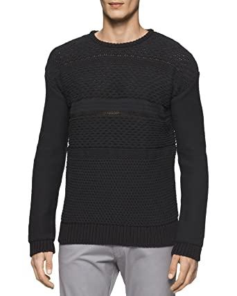 5c592f6a6f88 Calvin Klein Mens Multi-Textured Pullover Sweater at Amazon Men s ...