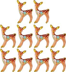 EXCEART 10pcs Mini Christmas Ornaments Reindeer Miniature Figurines Christmas Micro Landscape Ornament Fairy Garden Dollhouse Decoration