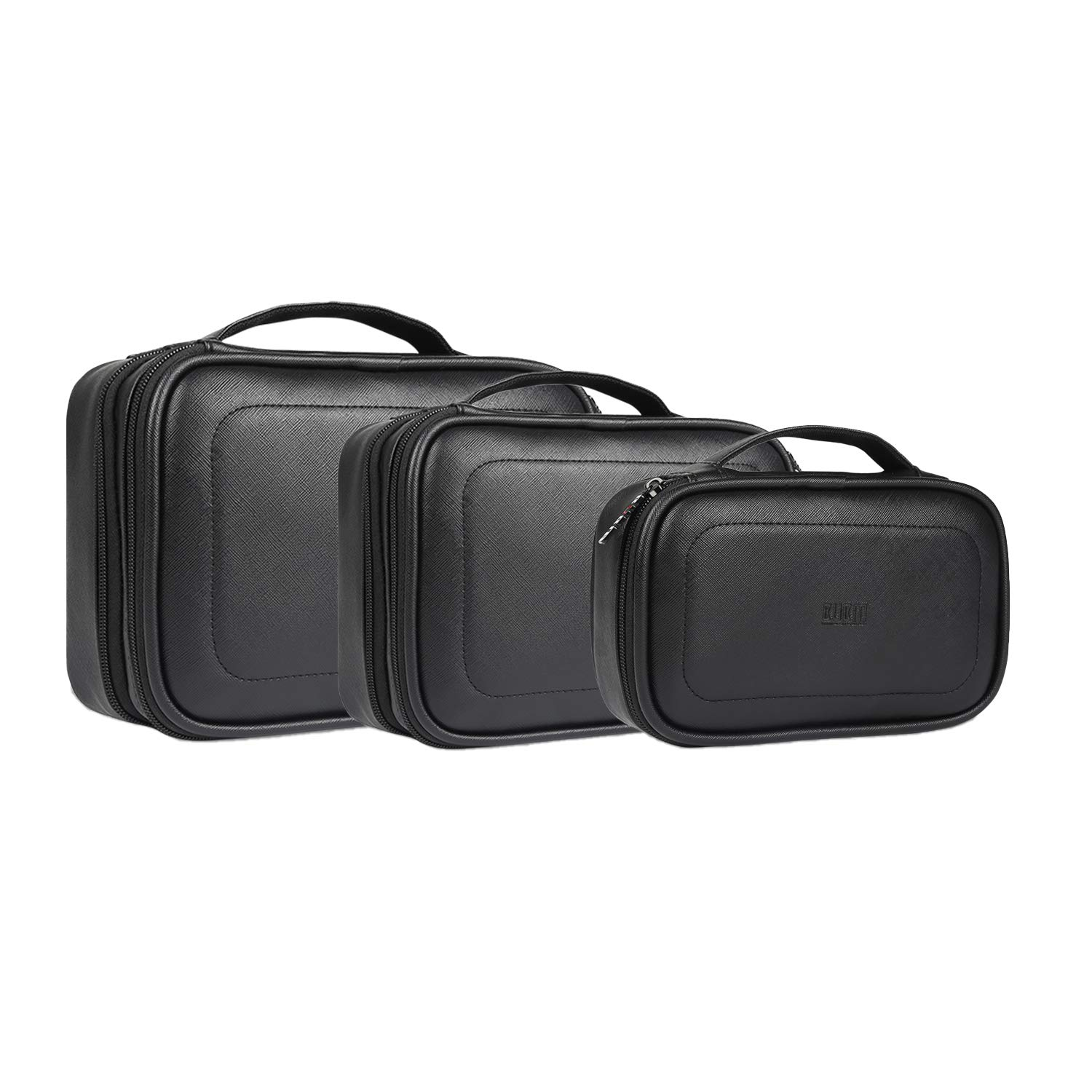 BUBM 3pcs Electronic Travel Organizer, PU Gear Carry Bag for Cables, Cord, USB Flash Drive, Battery and More, Compact and Multi-Purpose,(Black)