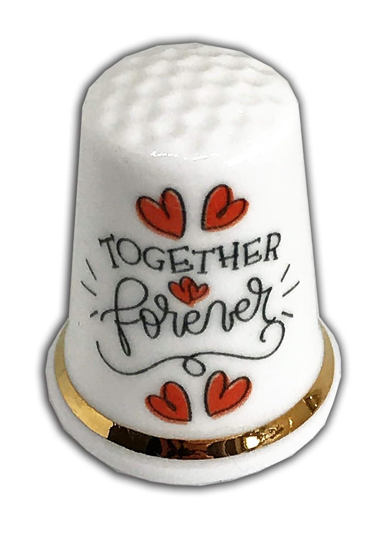 Wedding Engagement Together Forever Fine Bone China Personalised Thimble