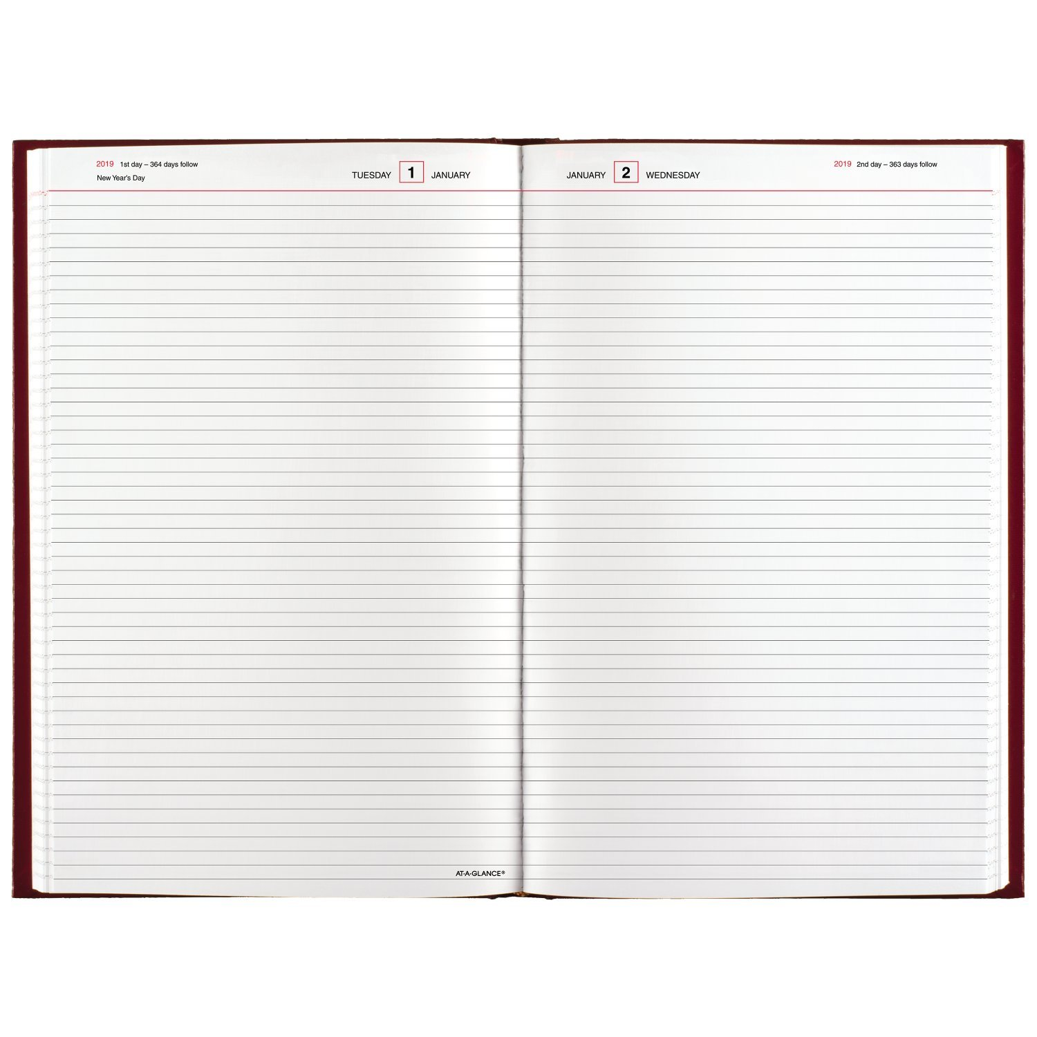AT-A-GLANCE 2019 Daily Diary, January - December, 8-3/16'' x 13-7/16'', Standard, Red (SD38179) by AT-A-GLANCE (Image #2)