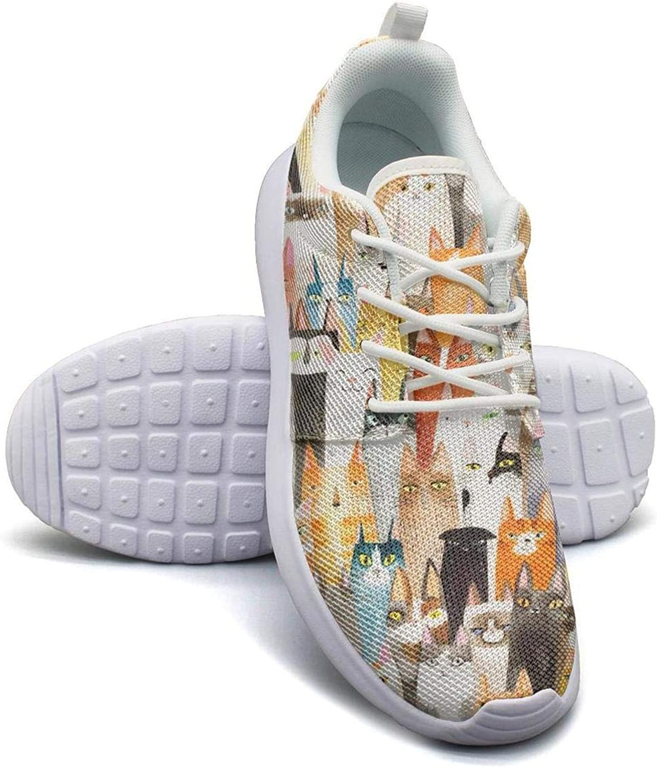 Abstract Cats Sneakers for Women Slip Non-Slip Running Shoes For Girls