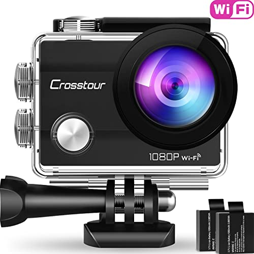 Crosstour Action Camera 1080P Full HD Wi-Fi 12MP Waterproof Cam 2 LCD 30m Underwater 170 Wide-Angle Sports Camera with 2 Rechargeable 1050mAh Batteries and Mounting Accessory Kits CT7000