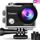 Crosstour Caméra Sport 1080P Full HD Wi-FI Étanche 30M 12MP 170 °Grand-Angle 2 Pouces LCD avec 2 Batteries Rechargeables 1050mAh et 18 Accessoires CT7000 (Noir) (Noir)