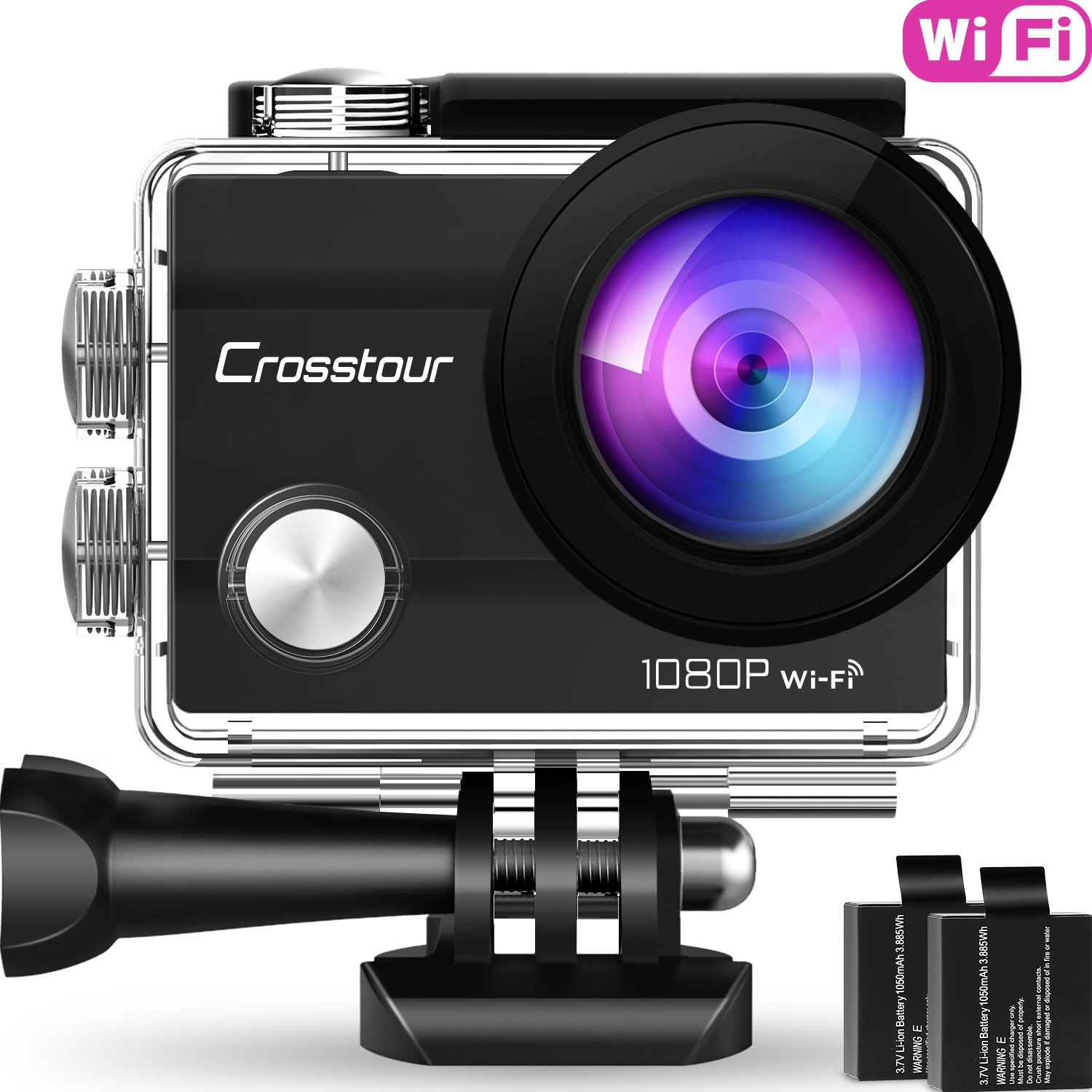 Crosstour Action Camera Underwater Cam WiFi 1080P Full HD 12MP Waterproof 30m 2'' LCD 170 Degree Wide-Angle Sports Camera with 2 Rechargeable 1050mAh Batteries and Mounting Accessory Kits by Crosstour