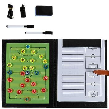 Rovtop 6 En 1 Carpeta Táctica para Entrenamiento de Fútbol con accesorios-2 Lápices, 8 Mapas estratégicos, 26 Imanes tácticos, 1 Silbato, 1 Borrador
