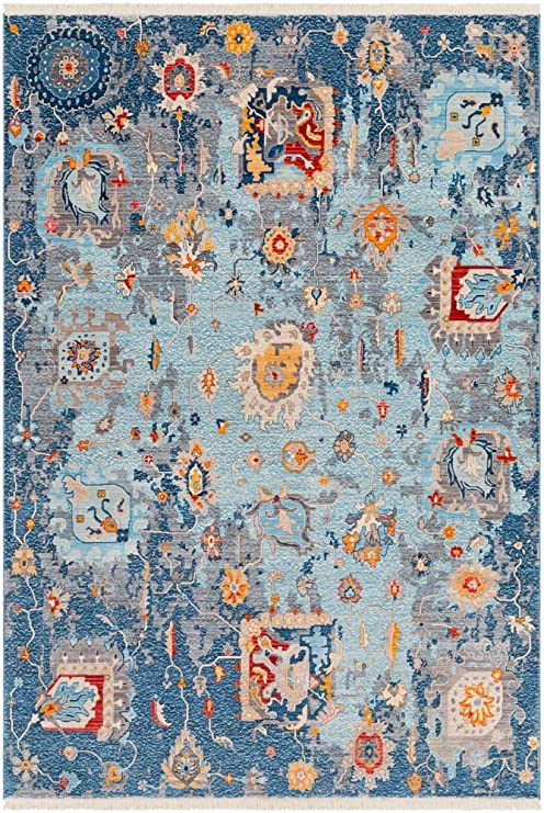 Traditional Area Rug Aqua Sky Blue Silver Gray Medium Gray Beige Cream Saffron 5 X 7 9 Kitchen Dining