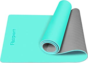 "FBSPORT Yoga Mat- Eco Friendly Non Slip Fitness Exercise Mat with Carrying Strap & Storage Bag, Workout Mat for Yoga, Pilates and Floor Exercises (72""X24""X 1/4"")"