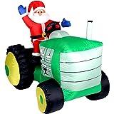 LED WEIHNACHTSMANN AUF XXL Traktor~ TRECKER ~ SELBSTAUFBLASEND~Inflatable~ca. 150 cm HOCH !!~LED BELEUCHTET~Garten DEKO Figur~WEIHNACHTSDEKO~WEIHNACHTSMANN~AIRBLOWN~AUFBLASBAR~Santa