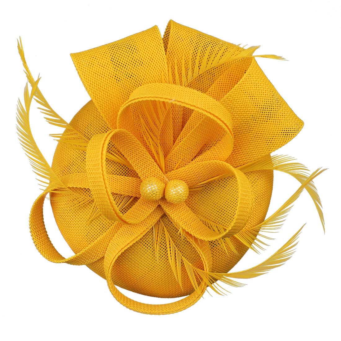 Fascinator Feather Fascinators for Women Pillbox Hat for Wedding Party Derby Royal Banquet Yellow