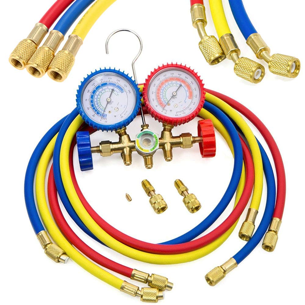 LIYYOO Refrigerant Charging Hoses with Diagnostic Manifold Gauge Set for R410A R22 R404 Refrigerant Charging,1/4'' Thread Hose Set 60'' Red/Yellow/Blue (3pcs) with 2 Quick Coupler