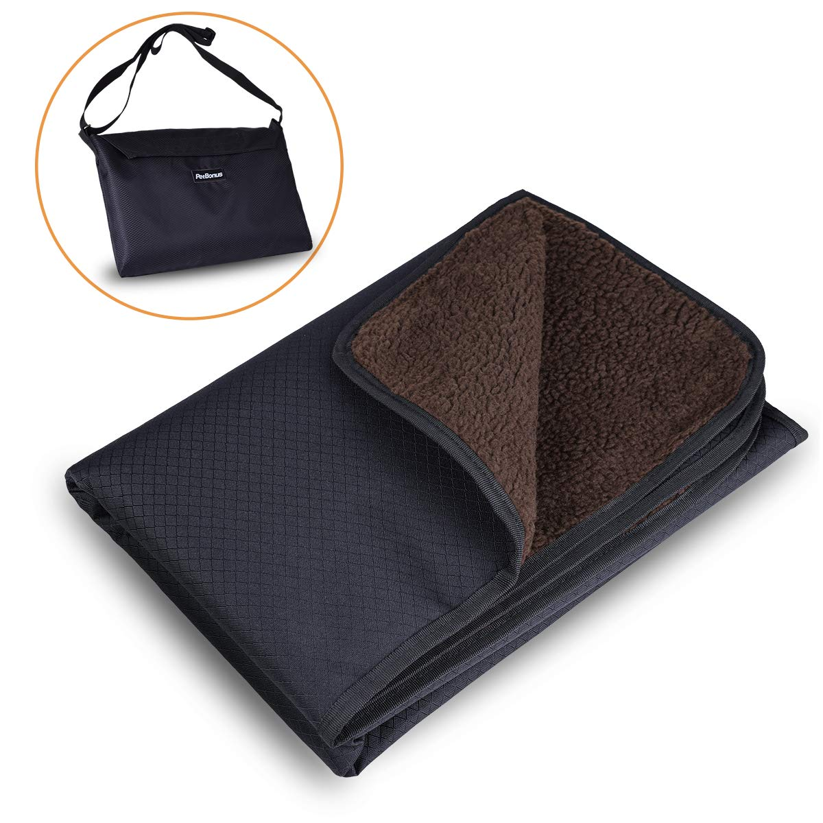 Large 47x35\ PetBonus Collapsible Dog Blanket, Waterproof and Washable Mat with Shoulder Bag, for Bed Sofa Car Seat and Outdoor, Large, 47 x 35 inches