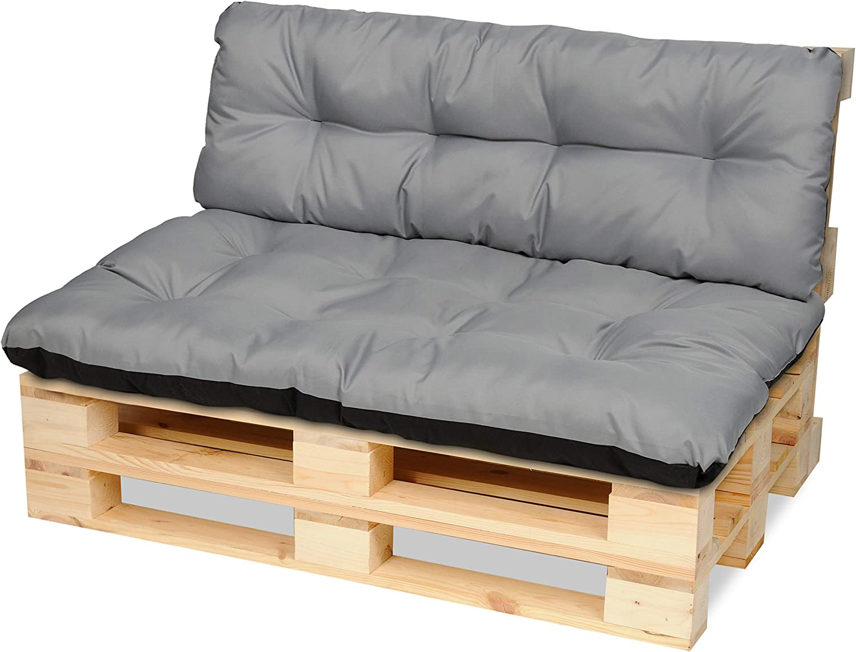 SuperKissen24 Cojín para Palet Sofá Banco 120x80 cm y Respaldo 120x38 cm Asiento Cómodo e Impermeable para Muebles Terazza Exterior - Gris: Amazon.es: Jardín