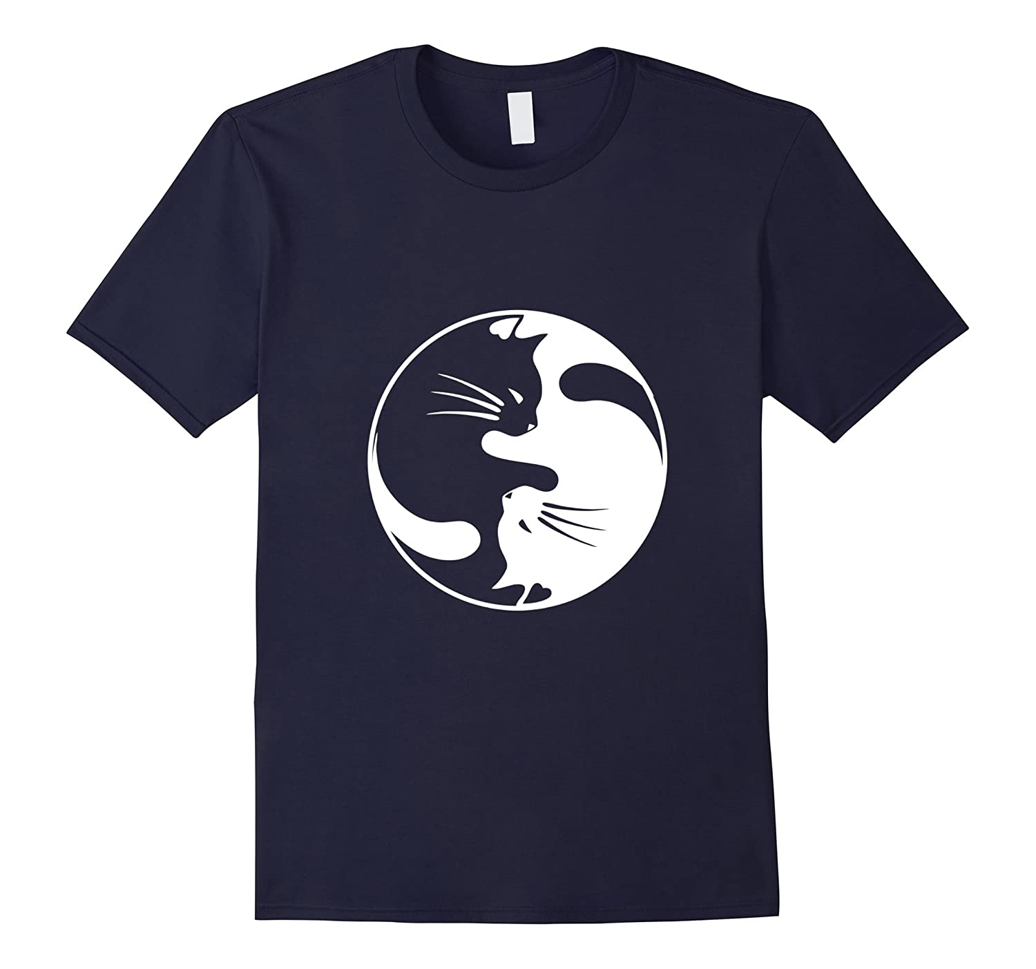 Black White Cat Yin and Yang T-shirt for Women and daddy-FL