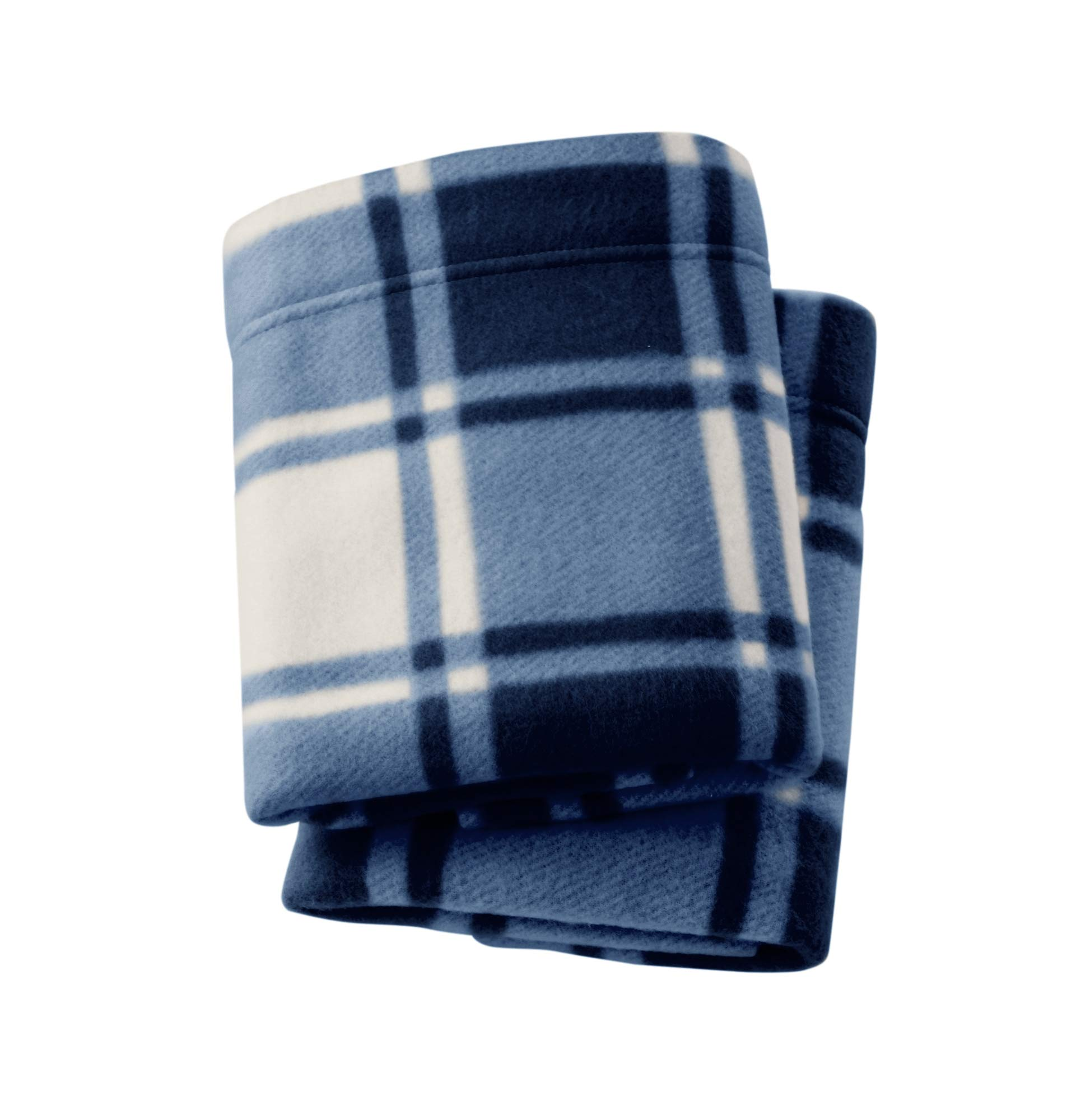 Great Bay Home Super Soft Extra Plush Plaid Polar Fleece Pillowcases. Cozy, Warm, Durable, Smooth, Breathable Winter Pillowcases with Plaid Pattern. Dara Collection Brand. (King, Navy)