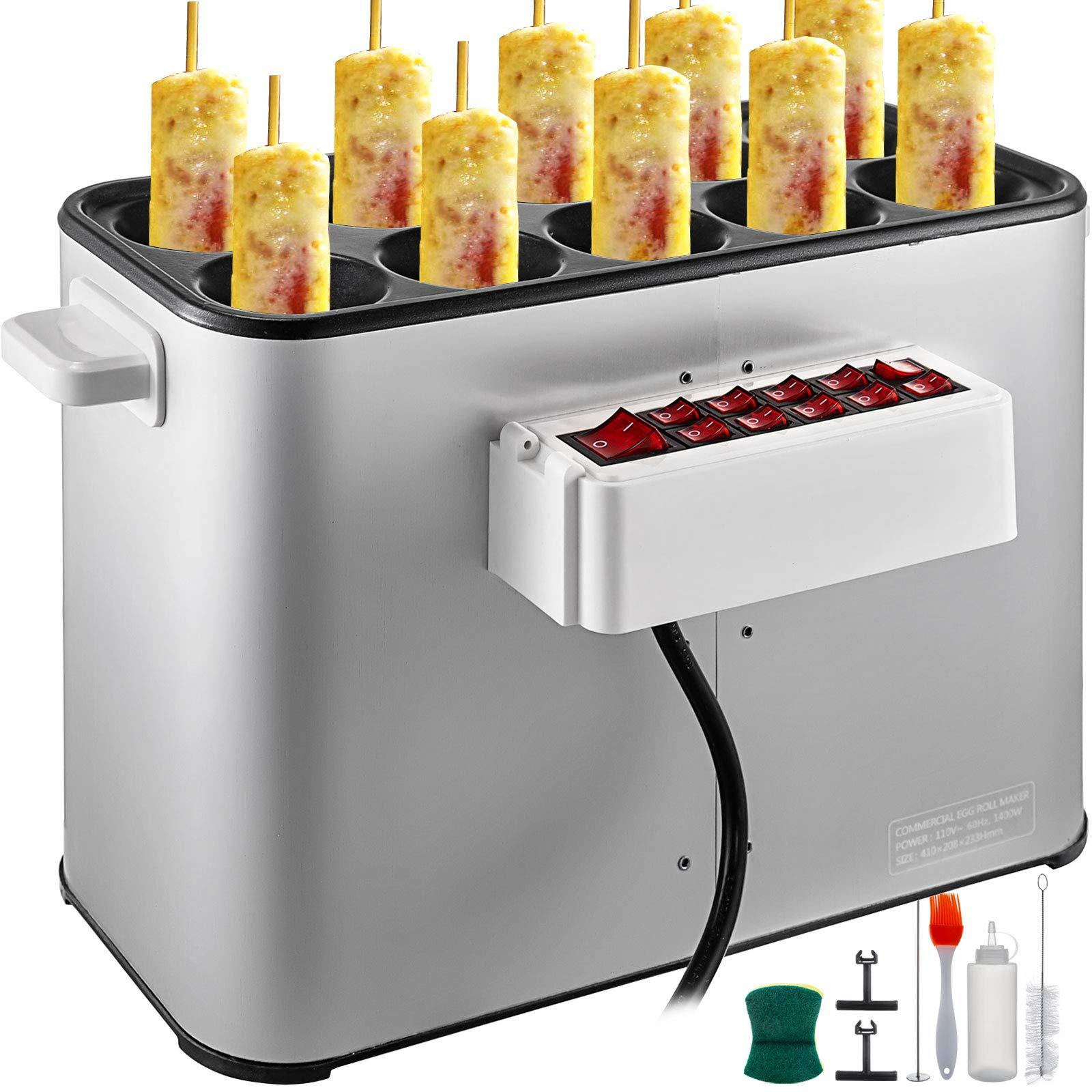 VBENLEM Automatic Egg Roll Machine 1400W Electric Automatic Egg Roll Machine 110V Home DIY Commercial Hot Dog Roll Maker Machine for Breakfast by VBENLEM