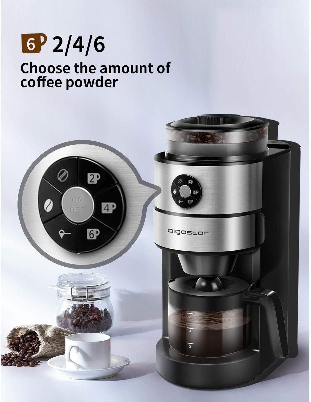 Aigostar Kaffa 30LHX - 2 en 1 Cafetera eléctrica con molinillo integrado. 680-820 W, 5 niveles de molienda. Sistema de goteo, capacidad 2-6 tazas. Función mantener caliente. Libre de BPA.: Amazon.es: Hogar
