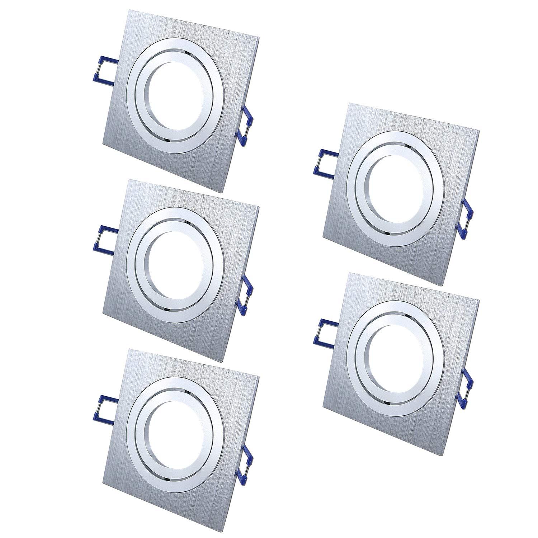 Einbaustrahler Schwenkbar STAR Quadratisch Matt-Chrom Silber Inkl. 5 X IP20 Deckenstrahler Einbauleuchte Deckeneinbaustrahler Deckeneinbauleuchte Deckenspot, 5 X Fassung GU10 - ohne Leuchtmittel