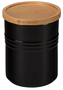 "Le Creuset of America 5 1/2"" Canister with Wood Lid, 2 1/2 quart, Black"