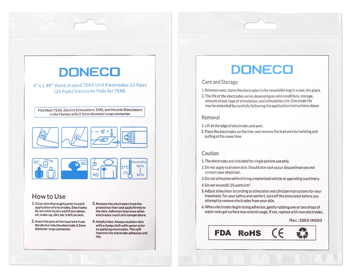 Tens Electrodes Doneco Premium Quality Large Snap On Pads 12 Pairs