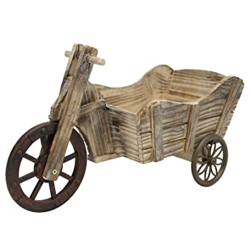 Triciclo macetero de carro para bicicleta maceta macetas madera Metal: Amazon.es: Jardín