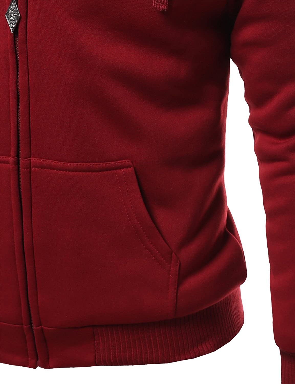Mens Basic Fur Lining Sweatshirt Hooded Jackets