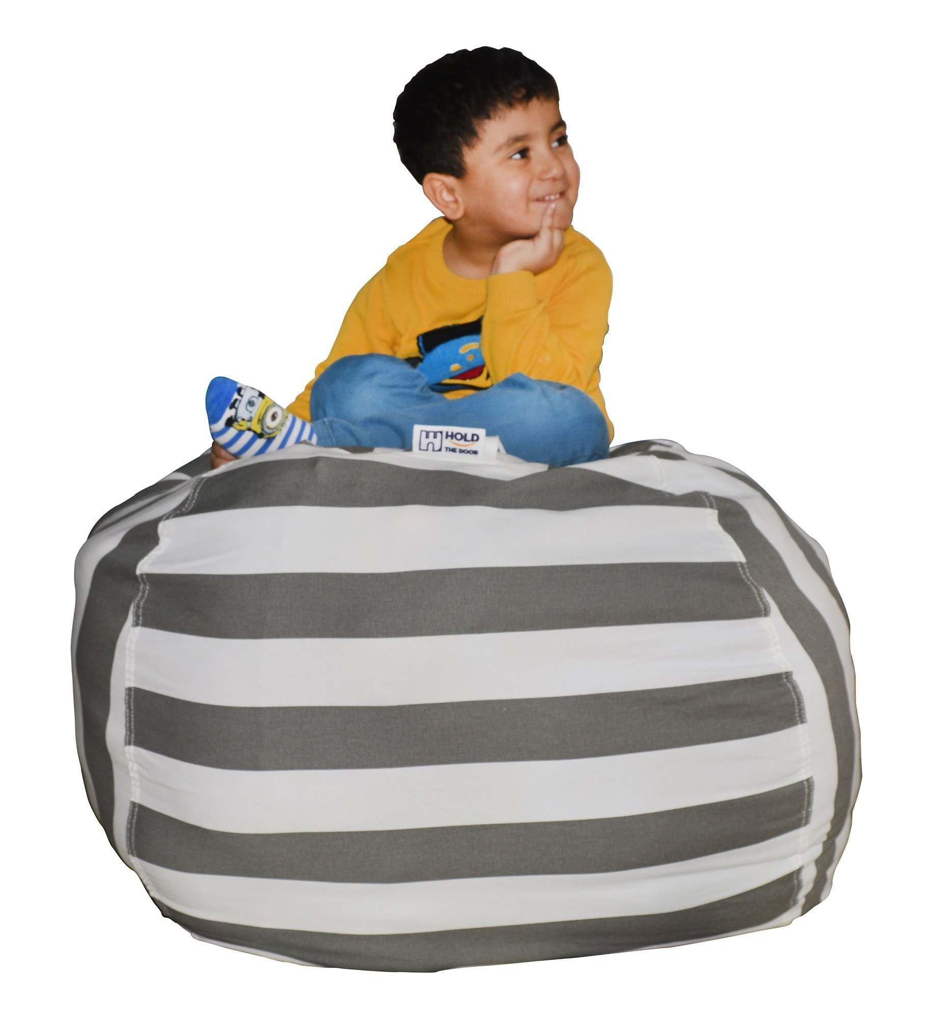 Hold The Door Extra Large Stuffed Animal Storage Bean Bag Chair - Toy Organizer & Comfy Chair - Perfect Storage Solution for Plush Toys, Blankets, Towels & Clothes - (Grey Striped, 38'') by Hold The Door (Image #2)